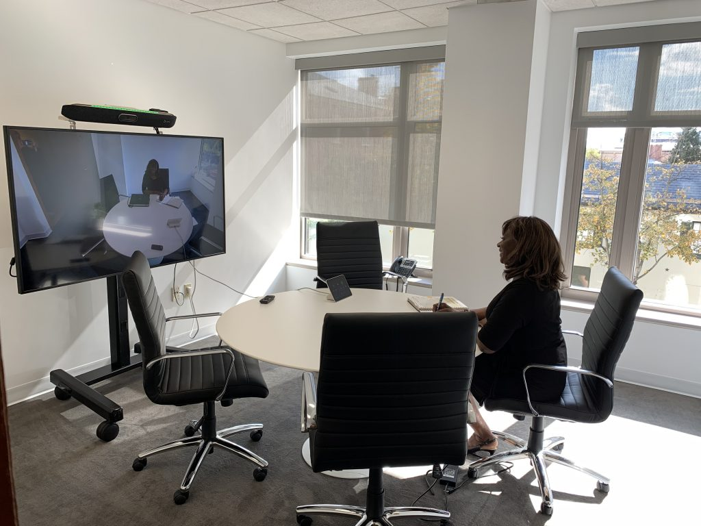 Oval Offices DC Zoom Room with windows that open